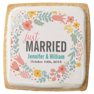 Beautiful Floral Just Married Wedding Decoration Square Premium Shortbread Cookie