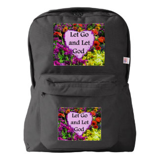 BEAUTIFUL FLORAL LET GO AND LET GOD PHOTO BACKPACK