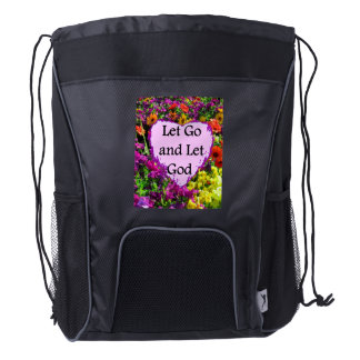 BEAUTIFUL FLORAL LET GO AND LET GOD PHOTO DRAWSTRING BACKPACK