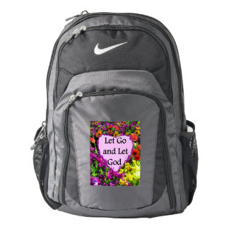 BEAUTIFUL FLORAL LET GO AND LET GOD PHOTO NIKE BACKPACK
