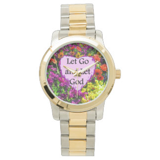 BEAUTIFUL FLORAL LET GO AND LET GOD PHOTO WATCHES
