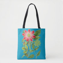 Beautiful Floral light blue all Print Tote Bag