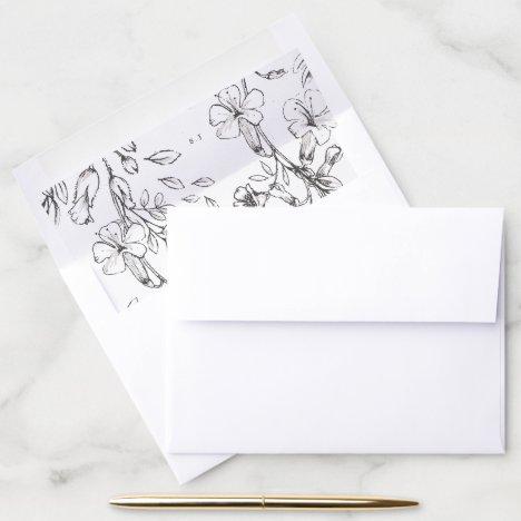 Beautiful Floral Monogram Sketched Wedding Envelope Liner