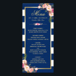 """Beautiful Floral Navy Blue Striped Wedding Menu<br><div class=""""desc"""">================= ABOUT THIS DESIGN ================= Beautiful Floral Navy Blue Striped Wedding Menu Card. (1) For further customization, please click the &quot;Customize it&quot; button and use our design tool to modify this template. All text style, colors, sizes can be modified to fit your needs. (2) If you need help or matching...</div>"""