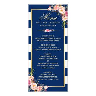 Beautiful Floral Navy Blue Striped Wedding Menu