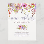 "Beautiful Floral | New Address Moving Announcement<br><div class=""desc"">This trendy new address postcard features pretty watercolor flowers in soft shades of pink,  blue,  purple,  and white,  with green and purple leaves,  and modern typography in a soft pastel blue. You can add a personal message to the back,  or leave blank.</div>"