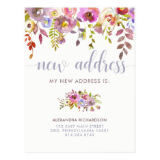 Beautiful Floral | New Address Postcard at Zazzle