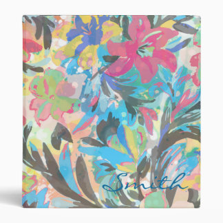 Beautiful  floral paint watercolours pattern 3 ring binder