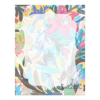 Beautiful  floral paint watercolours pattern letterhead