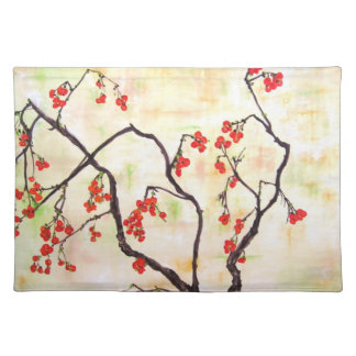 Beautiful Floral Painting cherry blossoms flower Placemats