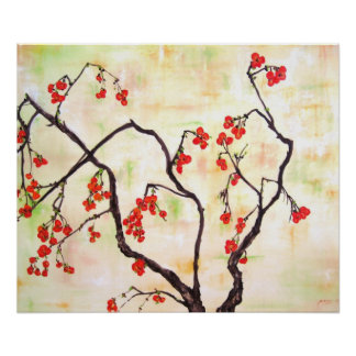 Beautiful Floral Painting cherry blossoms flower Poster