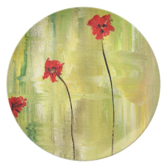 Beautiful Floral Painting of Anemones. Dinner Plate