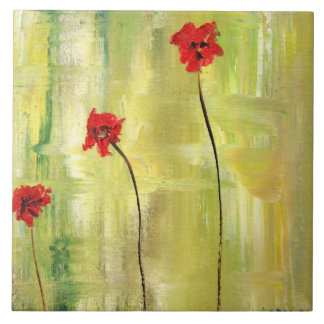 Beautiful Floral Painting of Anemones on Tile