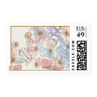 Beautiful Floral Pastel Canvas Postage