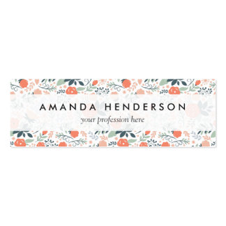 Beautiful Floral Pattern Girly Double-Sided Mini Business Cards (Pack Of 20)