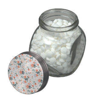 Beautiful Floral Pattern Girly Glass Candy Jars