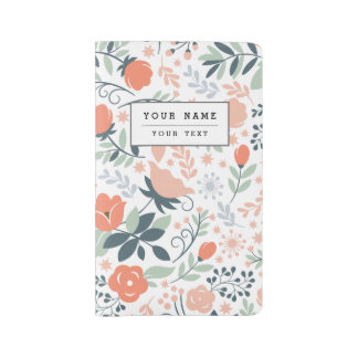 Beautiful Floral Pattern Girly Large Moleskine Notebook Cover With Notebook
