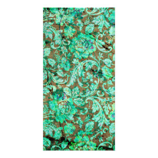 Beautiful floral pattern in green photo card
