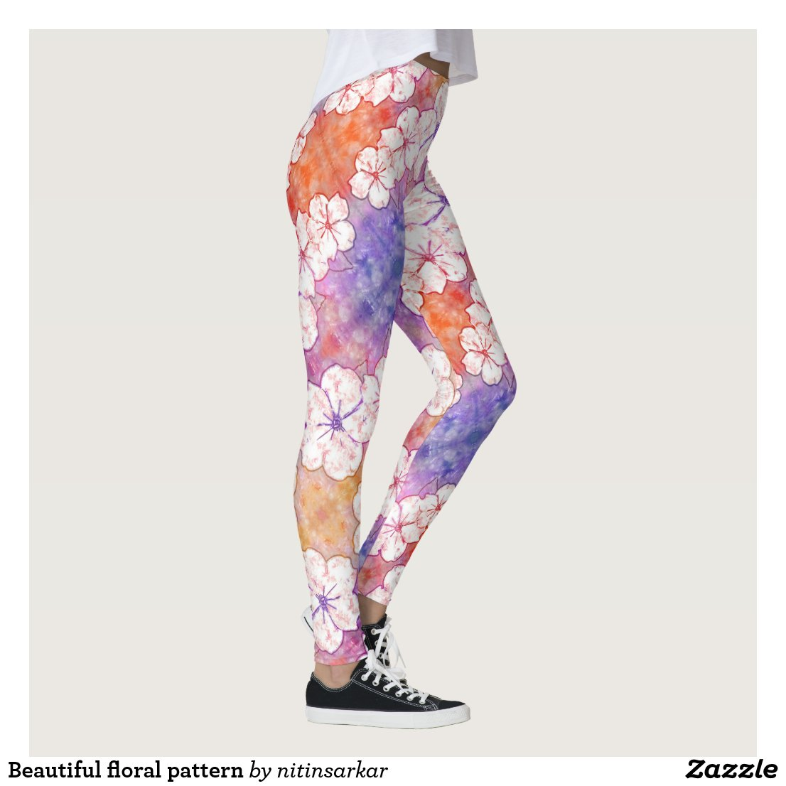 Beautiful floral pattern leggings