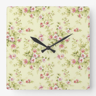 Beautiful floral pattern square wall clock