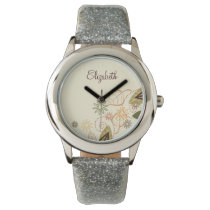 Beautiful  floral personalized design wristwatch