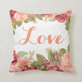 Beautiful Floral Pillow with Custom Text