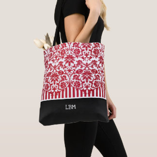 Beautiful Floral Red Damask and Stripes Tote Bag