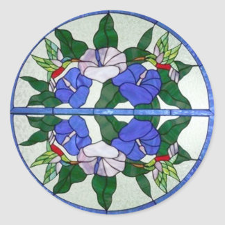 Beautiful Floral Stained Glass with Hummingbirds Classic Round Sticker