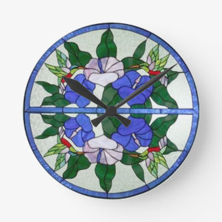 Beautiful Floral Stained Glass with Hummingbirds Round Wallclocks