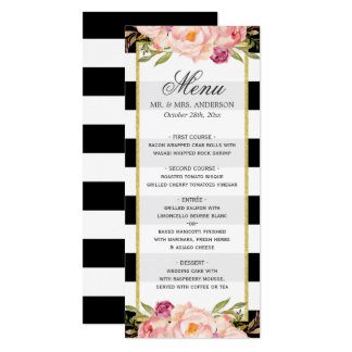 Beautiful Floral Stripes Modern Wedding Menu Card