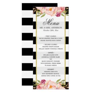 Beautiful Floral Stripes Modern Wedding Menu Card
