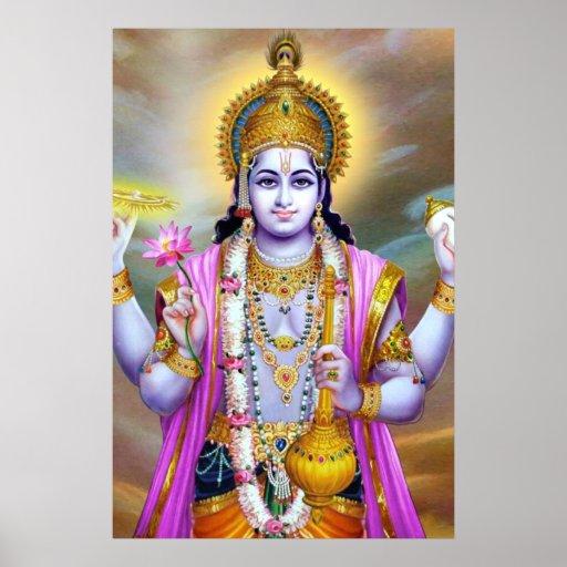 Beautiful Floral Vintage Lord Vishnu Print