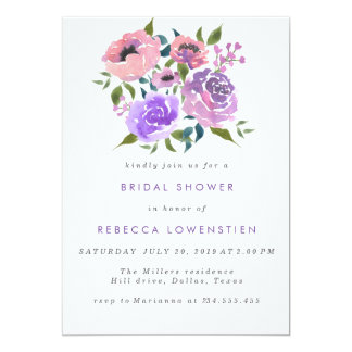 Beautiful Floral Watercolor Bunch Bridal Shower Card