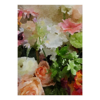 Beautiful Floral Watercolor Peach, Pink & Green Poster