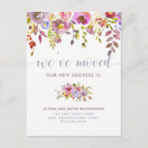 Beautiful Floral | We've Moved | Change of Address Announcement Postcard