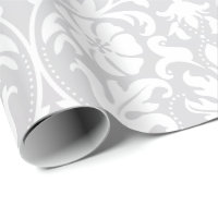 Beautiful Floral White Damask Wedding Design Wrapping Paper