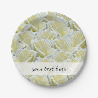 beautiful floral white roses photograph design paper plate