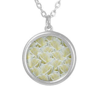beautiful floral white roses photograph design silver plated necklace