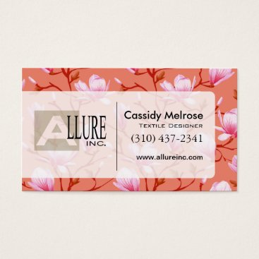 Professional Business Beautiful Floral with Vines | coral Business Card
