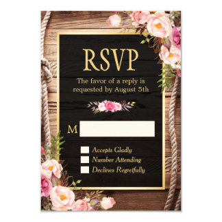 Beautiful Floral Wooden Rustic Country Gold RSVP Card