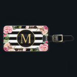 "Beautiful Floral Wrap Black White Stripes Monogram Luggage Tag<br><div class=""desc"">Beautiful Floral Wrap Black White Stripes Monogram Bag Tag.  (1) For further customization,  please click the ""customize further"" link and use our design tool to modify this template.  (2) If you need help or matching items,  please contact me.</div>"
