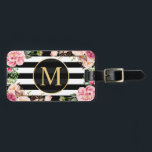 "Beautiful Floral Wrap Black White Stripes Monogram Luggage Tag<br><div class=""desc"">Beautiful Floral Wrap Black White Stripes Monogram Bag Tag.  (1) For further customization,  please click the &quot;customize further&quot; link and use our design tool to modify this template.  (2) If you need help or matching items,  please contact me.</div>"