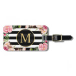 Beautiful Floral Wrap Black White Stripes Monogram Luggage Tag<br><div class='desc'>================= ABOUT THIS DESIGN ================= Watercolor Stripes with Floral Gold Glitter Frame Invitation Suite. (1) All text style, colors, sizes can be modified to fit your needs. (2) If you need any customization or matching items, please feel free to contact me. (In case you didn&#39;t get my response, please check...</div>