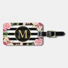 Beautiful Floral Wrap Black White Stripes Monogram Luggage Tag at Zazzle