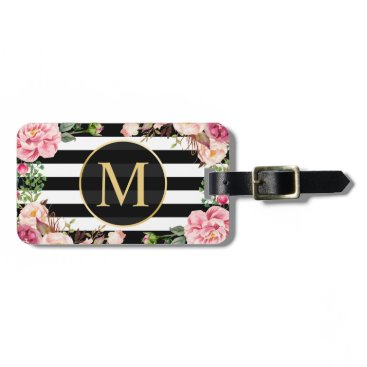 CardHunter Beautiful Floral Wrap Black White Stripes Monogram Luggage Tag