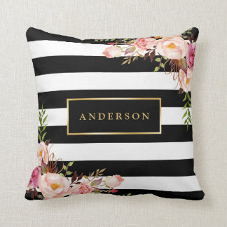 Beautiful Floral Wrap Gold Frame Elegant Stripes Throw Pillow