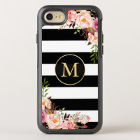 Beautiful Floral Wrap Monogram Black White Stripes OtterBox Symmetry iPhone 7 Case