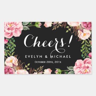 Beautiful Floral Wreath Cheers Wedding Wine Label