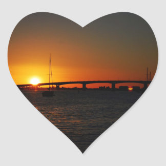 Beautiful  Florida Sunset Heart Sticker