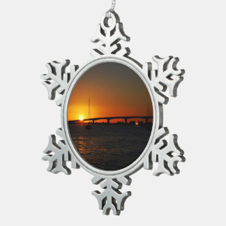 Beautiful  Florida Sunset Snowflake Pewter Christmas Ornament